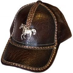 Modestone Western Ball Cap Metal Running Horse ''Faux Croc''