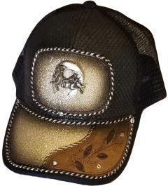Modestone Western Snapback Ball Cap Metal Bull Rider Horseshoe Beige Sparkle