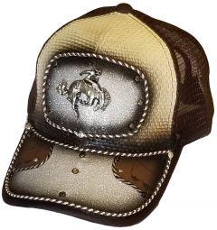 Modestone Western Snapback Ball Cap Metal Rodeo Bronco Rider White Sparkle