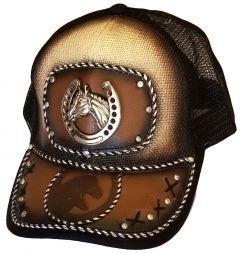 Modestone Western Snapback Ball Cap Metal Horseshoe Horse Foal ''Faux Leather''