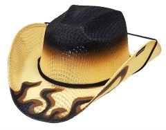Modestone Boy's Straw Cowboy Hat ''Hot Rod'' Flames Chinstring Beige