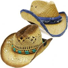 Modestone Value Pack 2 X Light Party Straw Cowboy Hats