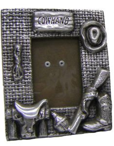 """Modestone 4"""" x 5"""" Decorative Metal Cowhand Picture Frame"""