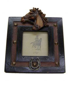 "Modestone 5 1/2"" X 5 1/2"" Decorative Horse Head & Horseshoe Frame"