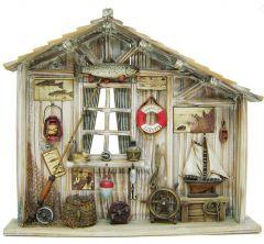 "Modestone 17 1/2"" X 15 1/2"" Antiqued Decorative Fishing Cabin Classic Rod & Reel"