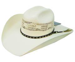 Modestone Traditional Bangora Breezer Straw Cowboy Hat Horse Hair Hatband White