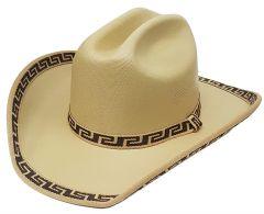 Modestone Kids Straw Cowboy Hat Fabric Brim ''Sizes For Small Heads'' Beige