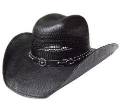 Modestone Straw Cowboy Hat Metal Texas Sheriff Star Chain Link Hatband Black