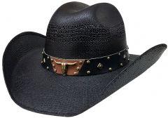 Modestone Unisex Straw Cowboy Hat Metal Bull Skull Studs Hatband Black