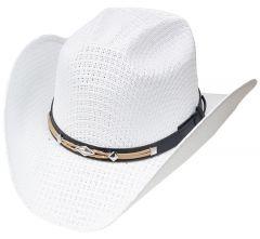 Modestone Unisex Straw Cowboy Hat Leather-Like Hatband White