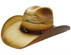 Modestone Men's Straw Cowboy Hat Metal Diamond Concho Studs Hatband Tan