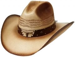 Modestone Unisex Straw Cowboy Hat Metal Bull Concho Studs Hatband Tan