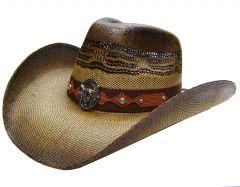 Modestone Men's Straw Cowboy Hat Metal Bull Skull & Feathers Concho Studs Hatband Brown