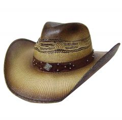 Modestone Unisex Straw Cowboy Metal Diamond Concho Studs Hatband Brown