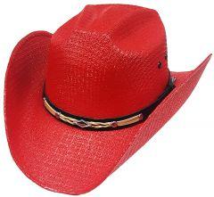 Modestone Unisex Straw Cowboy Hat Leather-Like Hatband Red