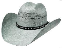 Modestone Sunburst Pattern on Brim Straw Cowboy Hat Bangora Grey