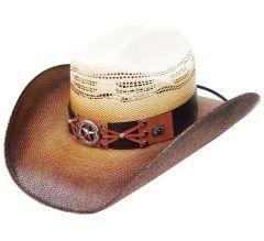 Modestone Traditional Bangora Rodeo Straw Cowboy Hat White