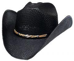 Modestone Unisex Straw Cowboy Hat Leather-Like Hatband Black