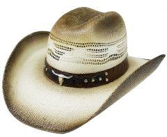 Modestone Traditional Rodeo Straw Cowboy Hat Bull Head & Studs Hatband Beige