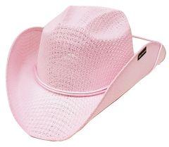Modestone Girl's Straw Cowboy Hat Chinstring Pink