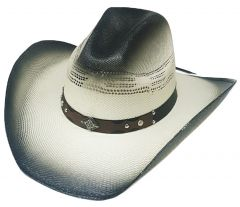 Modestone Wide Brim Straw Cowboy Hat Metal Concho Studs Hatband Grey