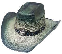 Modestone Wide Brim Straw Cowboy Hat Rhinestones Bling Bling Hatband Blue