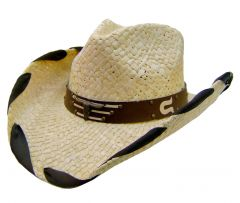 Modestone Men's Straw Cowboy Hat Bull Horseshoe Tan