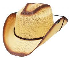 Modestone Boy's Straw Cowboy Hat Chinstring Beige