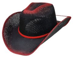 Modestone Boy's Straw Cowboy Hat Chinstring Black