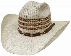 Modestone Unisex Straw Cowboy Hat Bangora Metal Studs Hatband 2 Tone