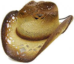 Modestone Men's Straw Cowboy Hat Beige Caramel