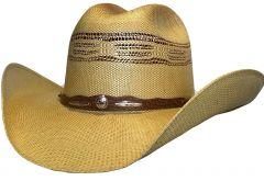 Modestone Unisex Straw Cowboy Hat Bangora Metal Studs Conchos Hatband Beige
