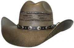 Modestone Unisex Straw Cowboy Hat Bangora Metal Studs Conchos Hatband Brown