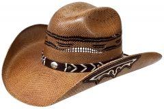 Modestone Unisex Straw Cowboy Hat Bangora Embroidered Appliques on Brim Beige