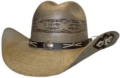Modestone Unisex Straw Cowboy Hat Bangora Conchos Appliques on Brim Beige
