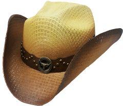 Modestone Unisex Straw Cowboy Hat Bull Concho 2Tone Beige Brown