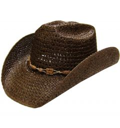 Modestone Men's Straw Cowboy Hat Beaded Hatband Brown