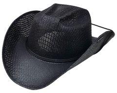 Modestone Unisex Straw Cowboy Hat Chinstring Black