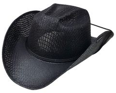 Modestone Kids Straw Cowboy Hat Chinstring ''Sizes For Small Heads'' Black