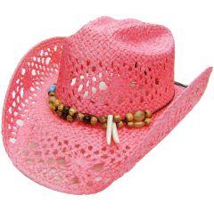Modestone Women's Straw Cowboy Hat Breezer Beaded Claws Hatband Pink