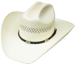 Modestone High Quality Traditional Bangora Rodeo Straw Cowboy Hat Off-White