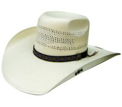 Modestone 100X Traditional Bangora Rodeo Straw Cowboy Hat 2-Tone White