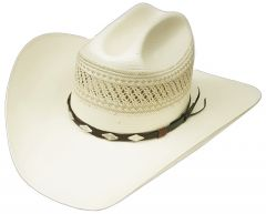 Modestone High Quality Traditional Bangora Rodeo Straw Cowboy Hat 2 Tone