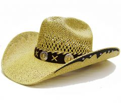 Modestone Men's Twisted Toyo Open Weave Large Brim Straw Cowboy Hat Light Yellow