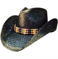 Modestone Unisex Weathered Look Straw Cowboy Hat Black & Beige
