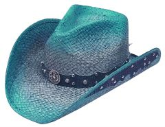 Modestone Straw Cowboy Hat Leather-Like Appliques Blue