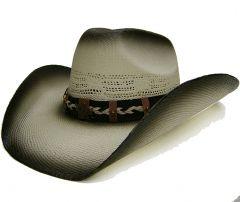 Modestone Men's Grey Straw Cowboy Hat Cactus Hatband Grey