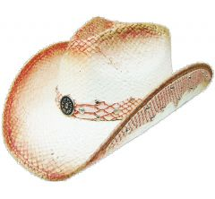 Modestone Straw Cowboy Hat Leather-Like Appliques Pink