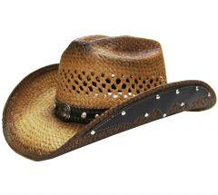 Modestone Men's Straw Cowboy Hat Metal Concho Studs Hatband Tan
