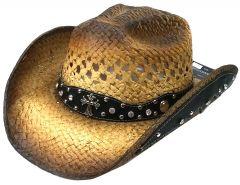 Modestone Straw Cowboy Hat Breezer Rhinestones Metal Cross Studs Hatband Appliques Tan